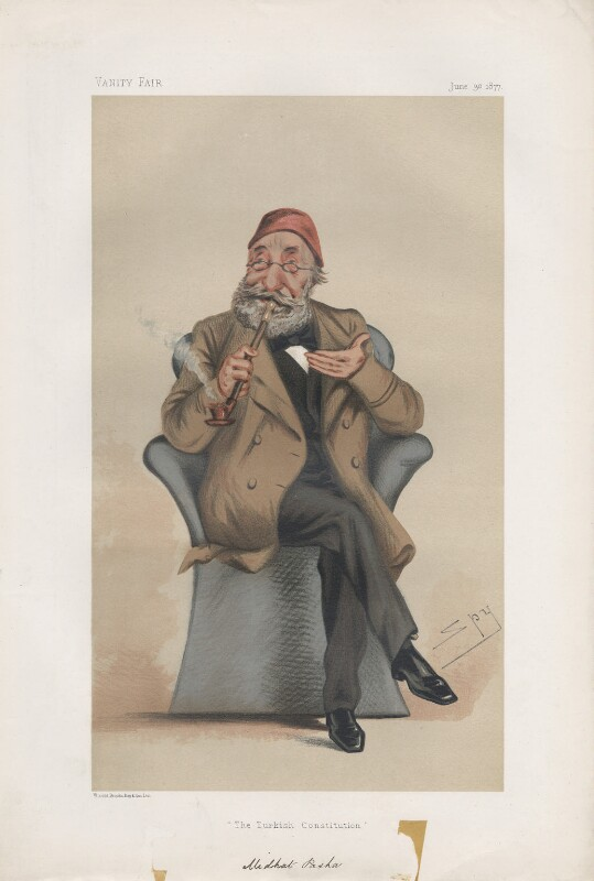 Midhat Pasha ('Statesmen. No. 256.'), by Sir Leslie Ward, published in Vanity Fair 30 June 1877 - NPG D43803 - © National Portrait Gallery, London