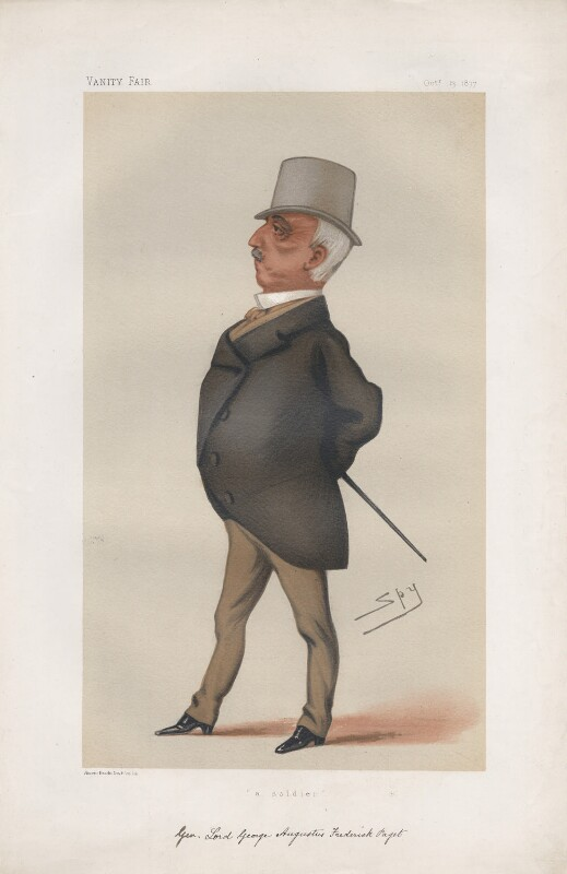 Lord George Augustus Frederick Paget ('Men of the Day. No. 161.'), by Sir Leslie Ward, published in Vanity Fair 13 October 1877 - NPG D43818 - © National Portrait Gallery, London