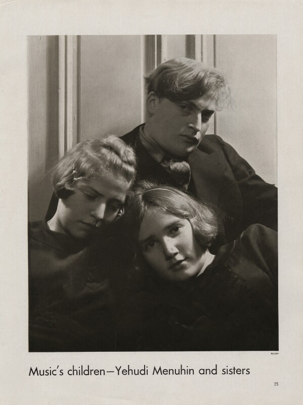 Yaltah Menuhin; Hephzibah Menuhin; Yehudi Menuhin, by Lusha Nelson, March 1935 - NPG x193432 - © reserved; collection National Portrait Gallery, London