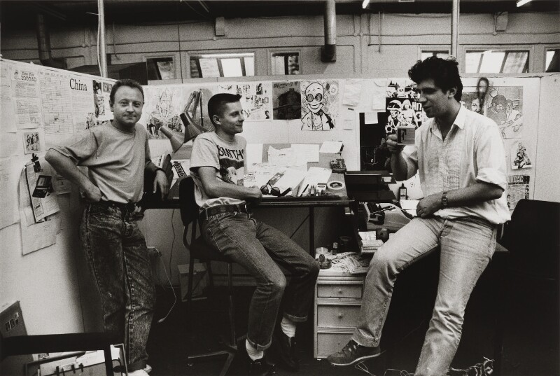 'Birth of Deadline' (Brett Ewins; Jamie Hewlett; Steve Dillon), by Steve Cook, 1988 - NPG x199050 - Photograph by Steven Cook