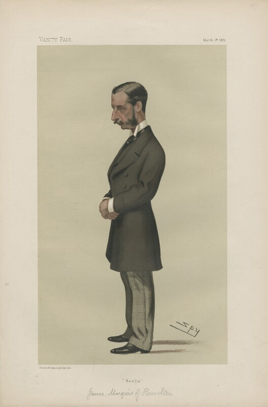James Hamilton, 2nd Duke of Abercorn ('Statesmen. No. 351.'), by Sir Leslie Ward, published in Vanity Fair 5 March 1881 - NPG D44002 - © National Portrait Gallery, London