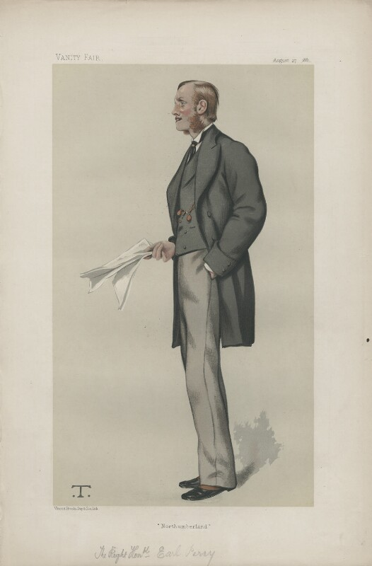 Henry George Percy, 7th Duke of Northumberland ('Statesmen. No. 370.'), by Théobald Chartran ('T'), published in Vanity Fair 27 August 1881 - NPG D44028 - © National Portrait Gallery, London