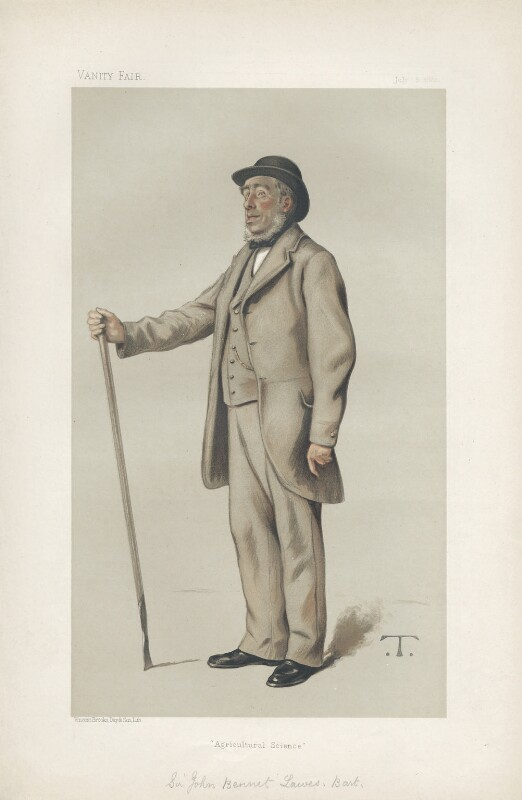 Sir John Bennet Lawes, 1st Bt 9 ('Men of the Day. No. 259.'), by Théobald Chartran ('T'), published in Vanity Fair 8 July 1882 - NPG D44075 - © National Portrait Gallery, London