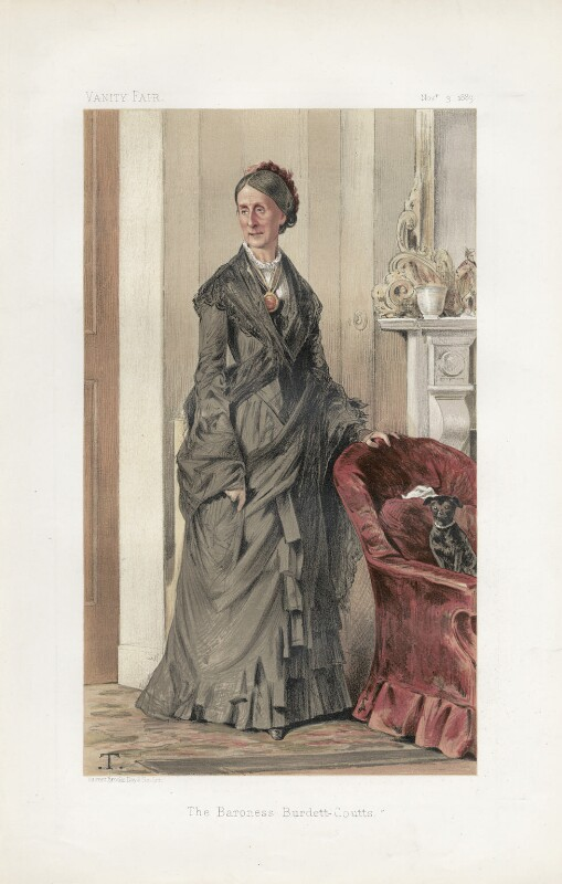 Angela Burdett-Coutts, Baroness Burdett-Coutts ('Ladies. No. 4.'), by Théobald Chartran ('T'), published in Vanity Fair 3 November 1883 - NPG D44145 - © National Portrait Gallery, London