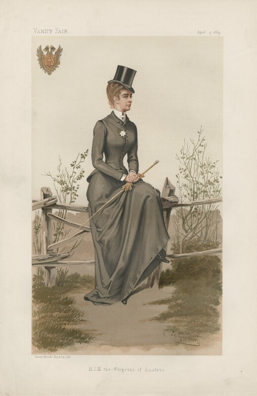 Elisabeth, Empress of Austria ('Ladies. No. 9.'), by Constantine von Grimm ('Nemo'), published in Vanity Fair 5 April 1884 - NPG D44168 - © National Portrait Gallery, London