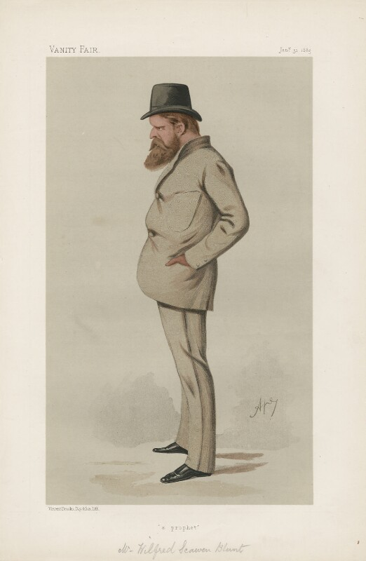 Wilfrid Scawen Blunt ('Men of the Day. No. 324.'), by Carlo Pellegrini, published in Vanity Fair 31 January 1885 - NPG D44211 - © National Portrait Gallery, London