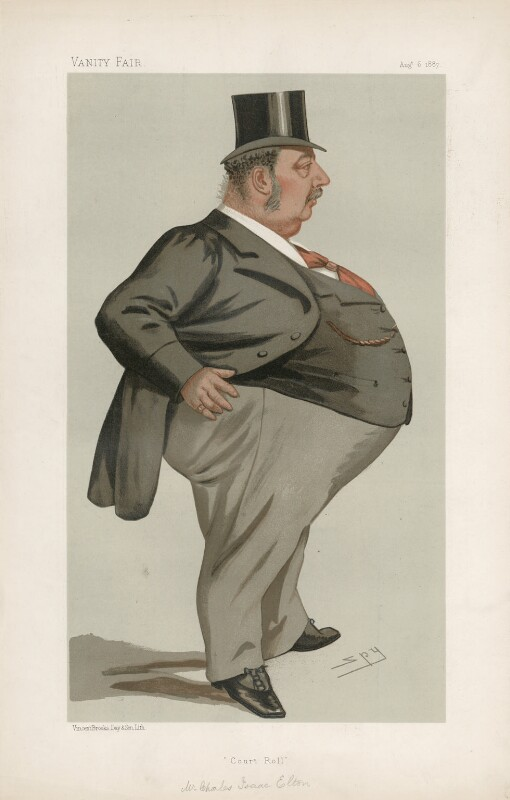 Charles Isaac Elton ('Statesmen. No. 525.'), by Sir Leslie Ward, published in Vanity Fair 6 August 1887 - NPG D44344 - © National Portrait Gallery, London