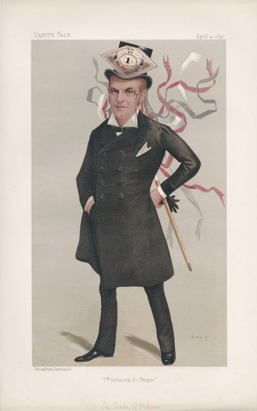 Philippe, 9th Duc d'Orleans ('Princes. No. 11.'), by Jean Baptiste Guth ('GUTH'), published in Vanity Fair 5 April 1890 - NPG D44485 - © National Portrait Gallery, London