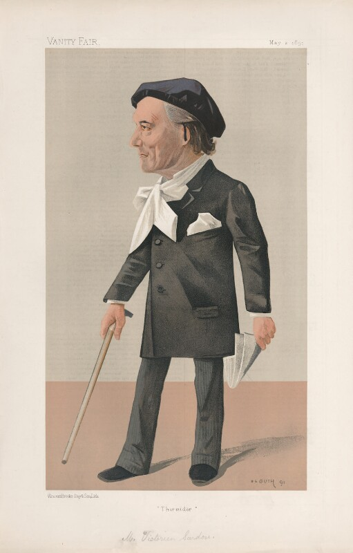 Victorien Sardou ('Men of the Day. No. 506.'), by Jean Baptiste Guth ('GUTH'), published in Vanity Fair 2 May 1891 - NPG D44540 - © National Portrait Gallery, London