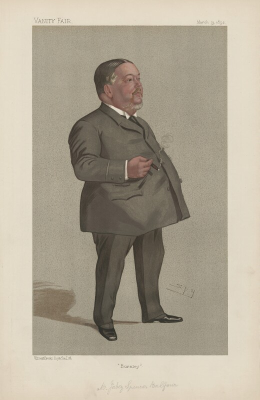 Jabez Spencer Balfour ('Statesmen. No. 587.'), by Sir Leslie Ward, published in Vanity Fair 19 March 1892 - NPG D44586 - © National Portrait Gallery, London