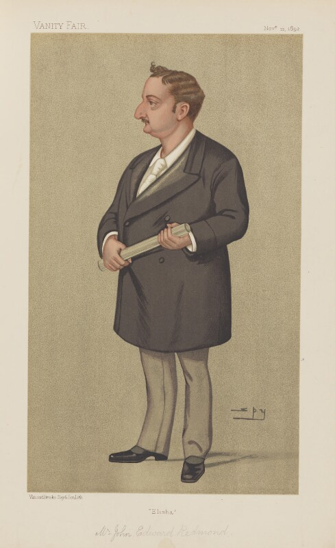 John Edward Redmond ('Statesmen. No. 605.'), by Sir Leslie Ward, published in Vanity Fair 12 November 1892 - NPG D44620 - © National Portrait Gallery, London