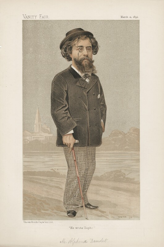 Alphonse Daudet ('Men of the Day. No. 558.'), by Jean Baptiste Guth ('GUTH'), published in Vanity Fair 11 March 1883 - NPG D44637 - © National Portrait Gallery, London