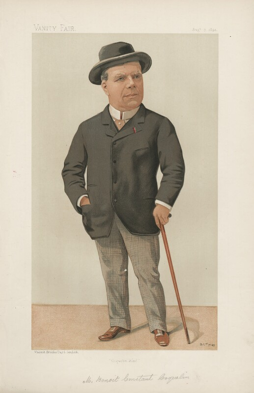 Benoît Constant Coquelin ('Coquelin aîné') ('Men of the Day. No. 571.'), by Jean Baptiste Guth ('GUTH'), published in Vanity Fair 3 August 1893 - NPG D44658 - © National Portrait Gallery, London
