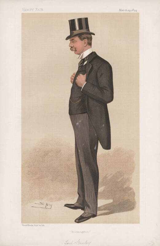 Edward George Villiers Stanley, 17th Earl of Derby ('Statesmen. No. 634.'), by Sir Leslie Ward, published in Vanity Fair 29 March 1894 - NPG D44692 - © National Portrait Gallery, London