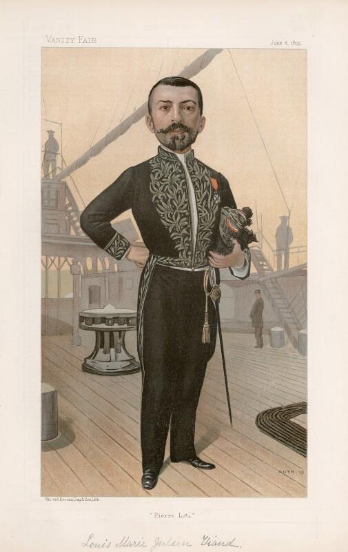 Julien Viaud ('Pierre Lotti') ('Men of the Day. No. 621.'), by Jean Baptiste Guth ('GUTH'), published in Vanity Fair 6 June 1895 - NPG D44754 - © National Portrait Gallery, London