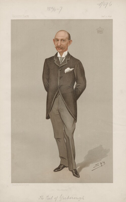 Charles Alfred Worsley Pelham, 4th Earl of Yarborough ('Statesmen. No. 661.'), by Sir Leslie Ward, published in Vanity Fair 2 January 1896 - NPG D44784 - © National Portrait Gallery, London