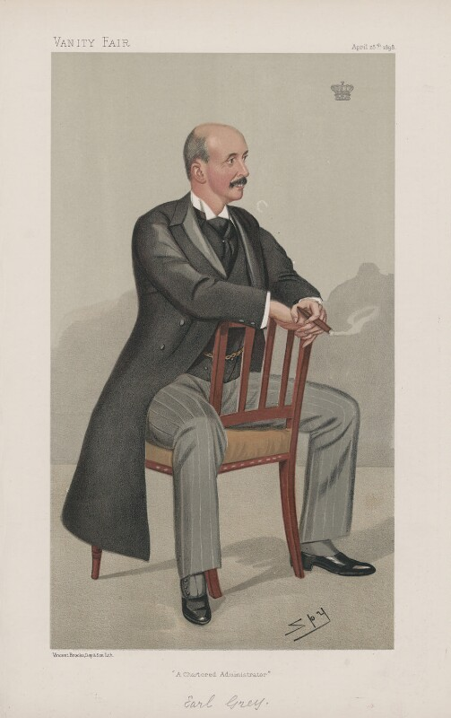 Albert Grey, 4th Earl Grey ('Statesmen. No. 693.'), by Sir Leslie Ward, published in Vanity Fair 28 April 1898 - NPG D44904 - © National Portrait Gallery, London