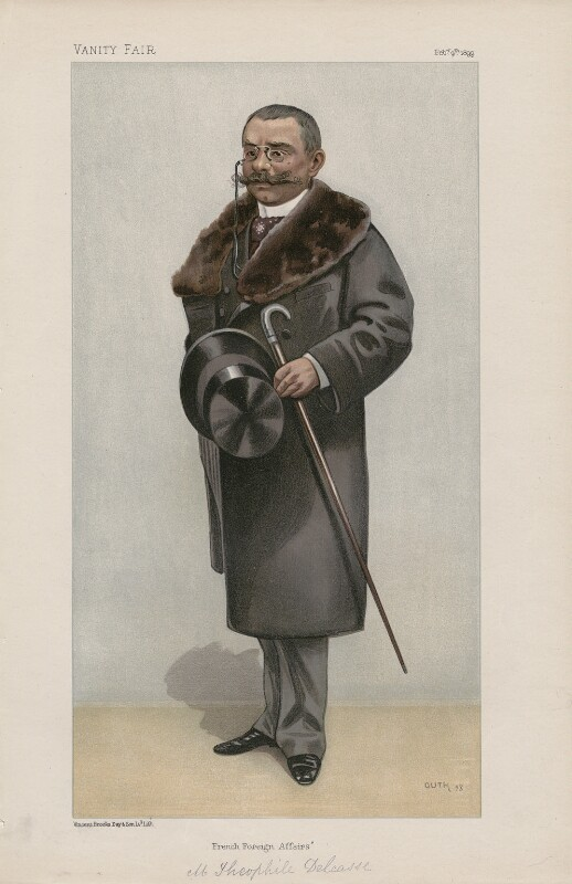 Théophile Delcassé ('Men of the Day. No. 738.'), by Jean Baptiste Guth ('GUTH'), published in Vanity Fair 9 February 1899 - NPG D44947 - © National Portrait Gallery, London
