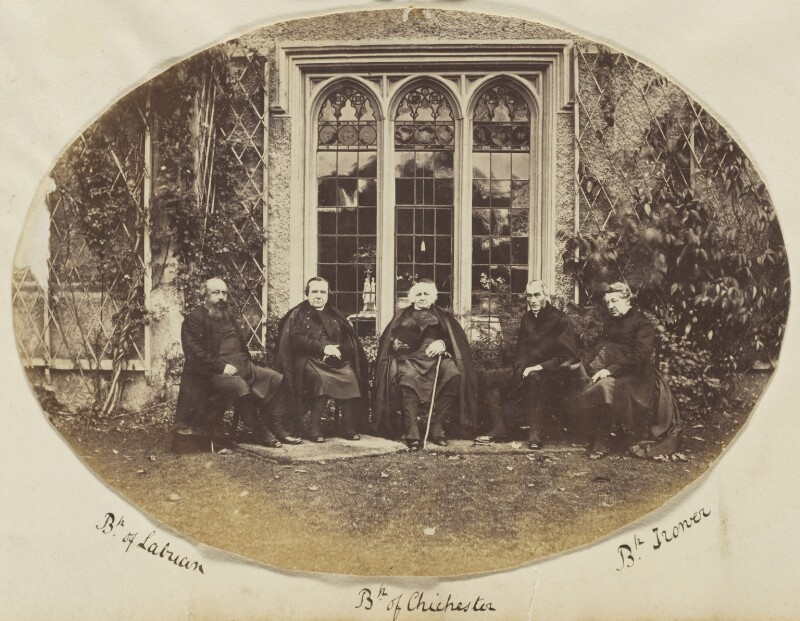Francis Thomas McDougall; Samuel Wilberforce; Ashurst Turner Gilbert; Walter John Trower and an unknown clergyman, by Unknown photographer, circa 1867 - NPG Ax139189 - © National Portrait Gallery, London
