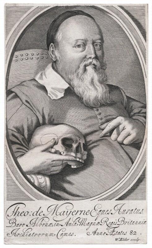 Sir Theodore Turquet de Mayerne, by William Elder, after  Unknown artist, late 17th century - NPG D45879 - © National Portrait Gallery, London