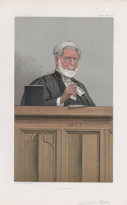 Sir John Rigby ('Judges. No. 62.'), by Sir Leslie Ward, published in Vanity Fair 28 March 1901 - NPG D45059 - © National Portrait Gallery, London