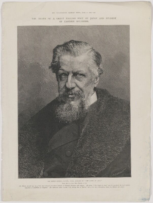 Sir Edwin Arnold, by Moritz Klinkicht, probably after  Henry Van der Weyde, published 2 April 1904 - NPG D45897 - © National Portrait Gallery, London