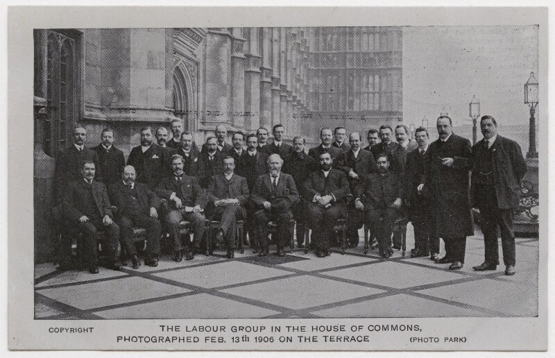 'The Labour Group in the House of Commons, Photographed Feb. 13th 1906 on the Terrace', probably after Charles Henry Park, 1906 (13 February 1906) - NPG x193150 - © National Portrait Gallery, London