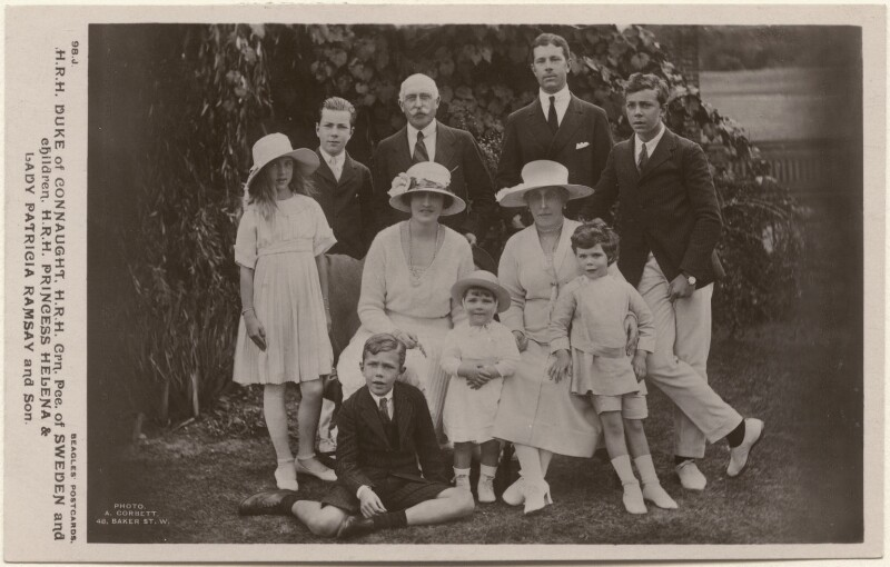 'H.R.H. Duke of Connaught, H.R.H. Crn. Pce. of Sweden and children, H.R.H. Princess Helena & Lady Patricia Ramsay and Son', by Alexander Corbett, published by  J. Beagles & Co, circa 1921 - NPG x193084 - © National Portrait Gallery, London