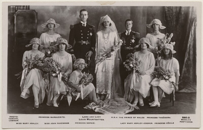 The Wedding of the Earl and Countess Mountbatten, by Vandyk, published by  J. Beagles & Co, 1922 (18 July 1922) - NPG x193086 - © National Portrait Gallery, London