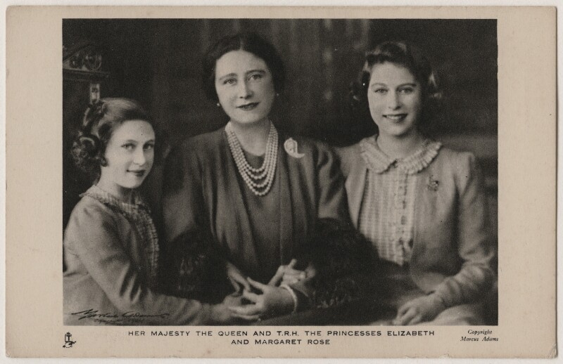'Her Majesty The Queen and T.R.H. The Princesses Elizabeth and Margaret Rose', by Marcus Adams, published by  Raphael Tuck & Sons, 1941 (18 March 1941) - NPG x193094 - © National Portrait Gallery, London
