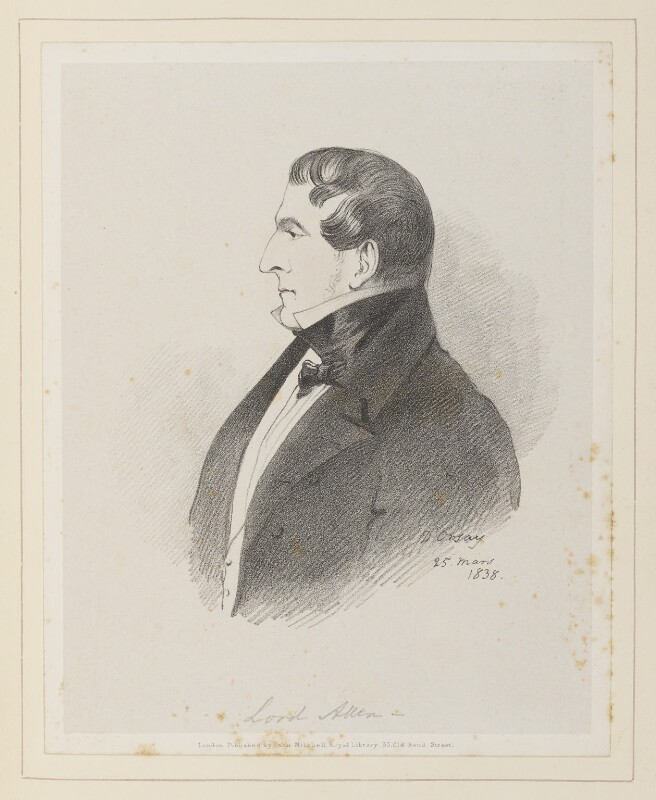 Joshua William Allen, 6th Viscount Allen, by Richard James Lane, published by  John Mitchell, after  Alfred, Count D'Orsay, (25 March 1838) - NPG D45928 - © National Portrait Gallery, London