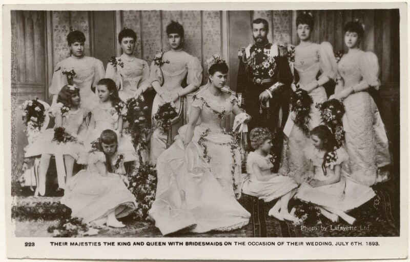 'Their Majesties The King and Queen with Bridesmaids on the Occasion of their Wedding, July 6th, 1893', after Lafayette, 1910s (6 July 1893) - NPG x196933 - © National Portrait Gallery, London