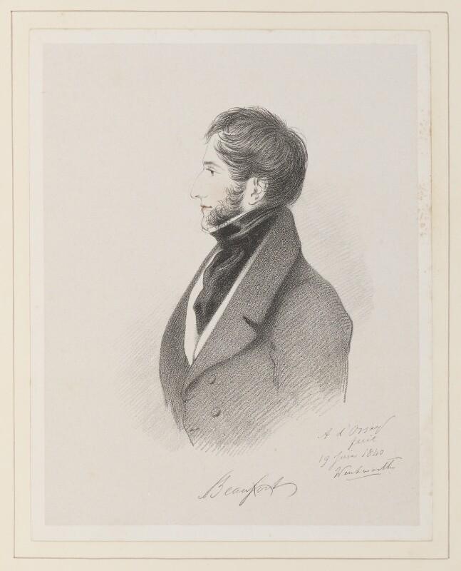 Henry Somerset, 7th Duke of Beaufort, by Richard James Lane, after  Alfred, Count D'Orsay, (19 June 1840) - NPG D45967 - © National Portrait Gallery, London