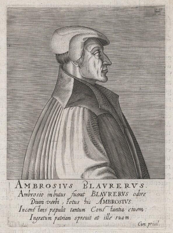 Ambrose Blaurer, by Hendrik Hondius (Hond), circa 1599 - NPG D46082 - © National Portrait Gallery, London