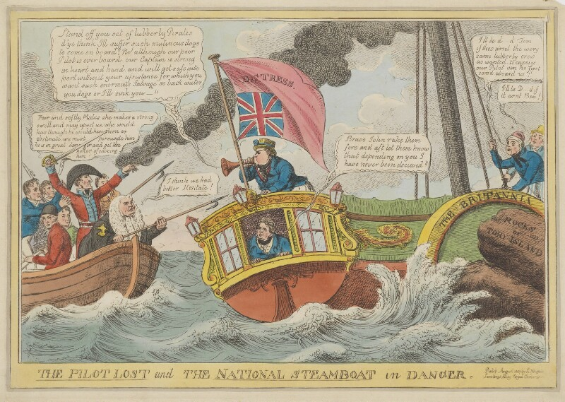 The Pilot Lost and the National Steamboat in Danger, by Charles Williams, published by  Samuel Knight, published August 1827 - NPG D46027 - © National Portrait Gallery, London