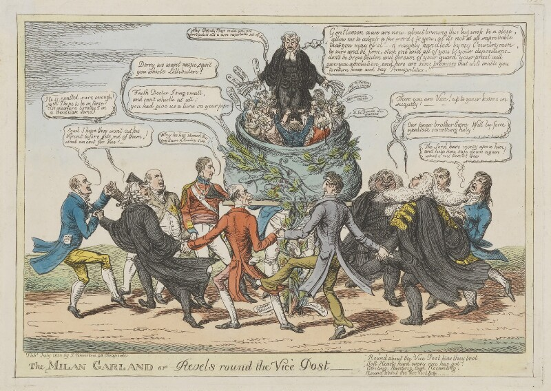 The Milan Garland or Revels round the Vice Post, by Charles Williams, published by  John Johnston, published July 1820 - NPG D46028 - © National Portrait Gallery, London