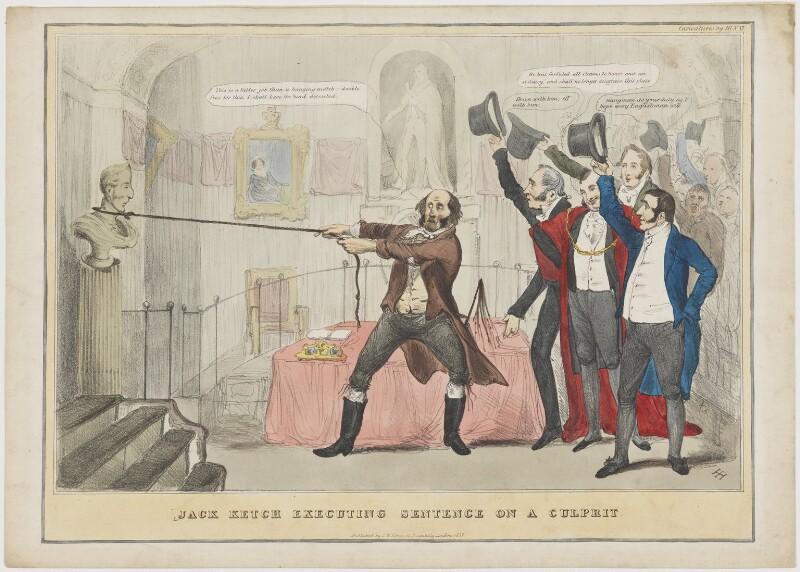 Jack Ketch Executing Sentence on a Culprit, by Henry Heath, published by  Samuel William Fores, published 1832 - NPG D46033 - © National Portrait Gallery, London