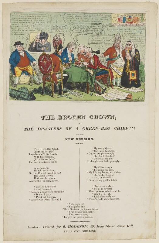 The Broken Crown or, The Disasters of a Green-Bag Chief!!!, by (Isaac) Robert Cruikshank, published by  Orlando Hodgson, circa November-December 1820 - NPG D46037 - © National Portrait Gallery, London