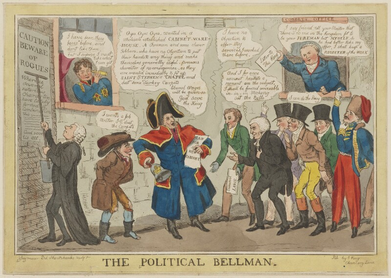 The Political Bellman, by Robert Seymour, published by  E. King, circa January 1828 - NPG D46052 - © National Portrait Gallery, London