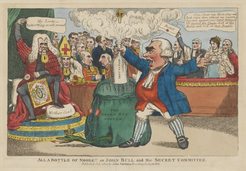All a Bottle of Smoke!! or John Bull and the Secret Committee, published by John Fairburn, published July 1820 - NPG D46058 - © National Portrait Gallery, London