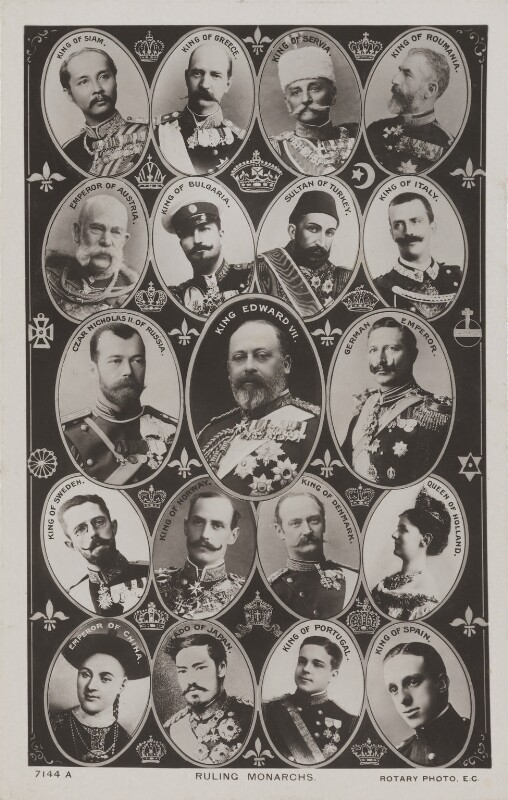 'Ruling Monarchs', published by Rotary Photographic Co Ltd, 1908 - NPG x196881 - © National Portrait Gallery, London