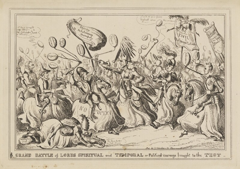 Grand Battle of Lords Spiritual and Temporal or Political courage brought to the Test, by William Heath, published by  Thomas McLean, circa April 1828 - NPG D46067 - © National Portrait Gallery, London