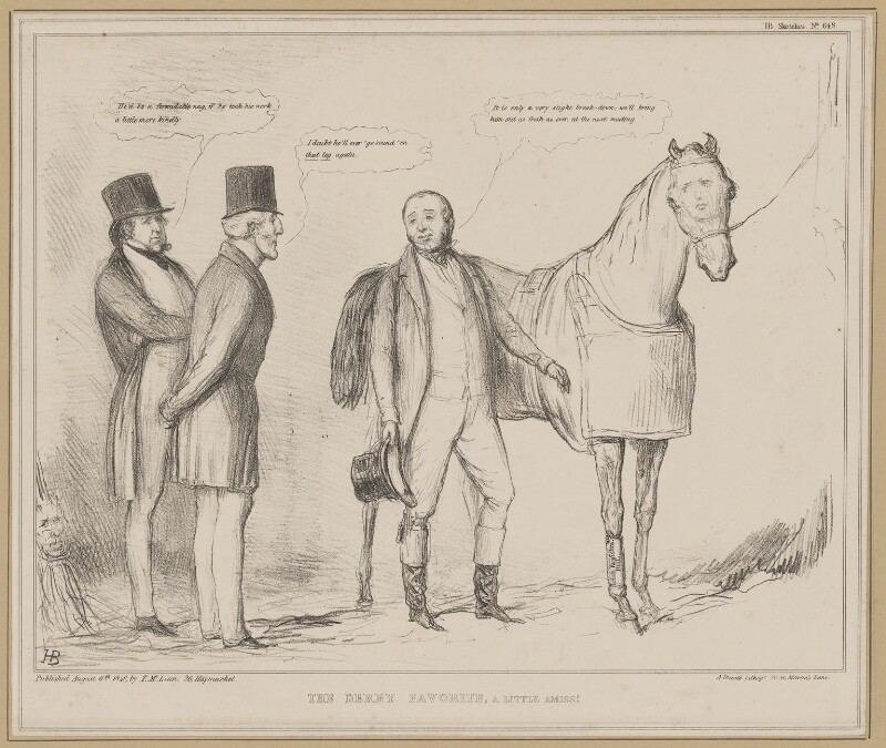 The Derby Favorite, a Little Amiss!, by John ('HB') Doyle, printed by  Alfred Ducôte, published by  Thomas McLean, published 6 August 1840 - NPG D46359 - © National Portrait Gallery, London