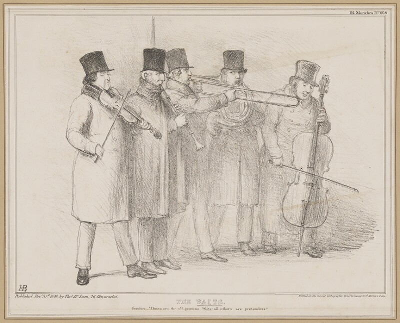 The Waits, by John ('HB') Doyle, printed by  General Lithographic Establishment, published by  Thomas McLean, published 31 December 1840 - NPG D46360 - © National Portrait Gallery, London