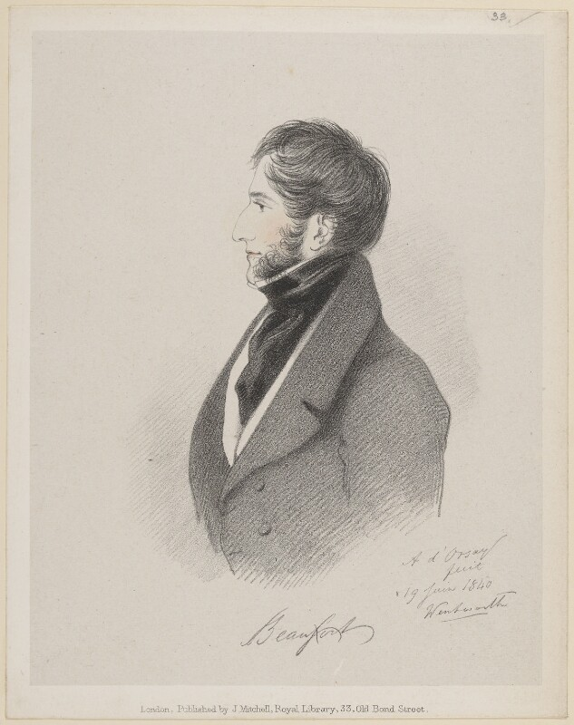 Henry Somerset, 7th Duke of Beaufort, by Richard James Lane, published by  John Mitchell, after  Alfred, Count D'Orsay, (19 June 1840) - NPG D46245 - © National Portrait Gallery, London