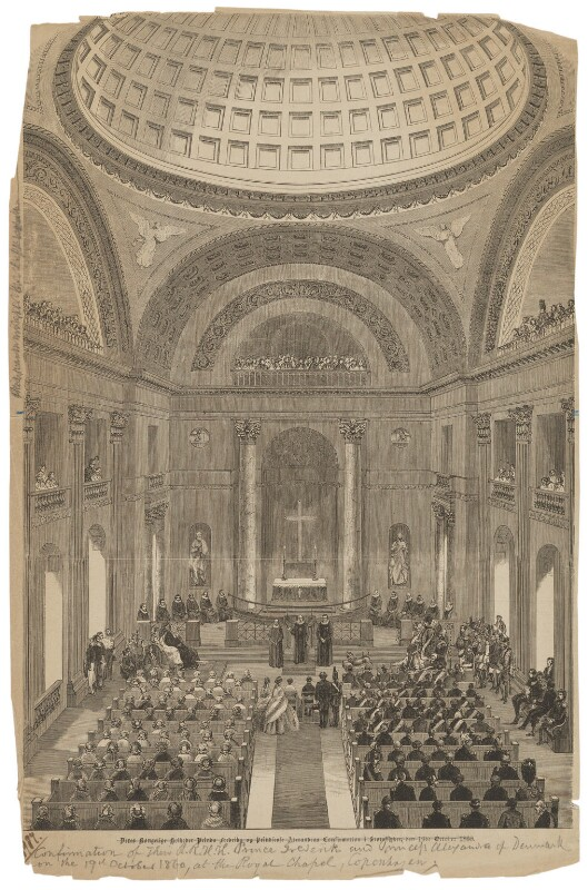 The Confirmation of Prince Frederick and Princess Alexandra at the Royal Chapel, Copenhagen on 19th October 1860, after Unknown artist, circa 1860 - NPG D45797 - © National Portrait Gallery, London