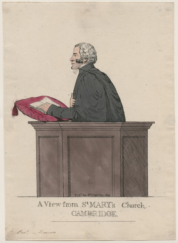 Charles Simeon ('A View from St Mary's Church, Cambridge'), by Richard Dighton, published 1815 - NPG D47079 - © National Portrait Gallery, London