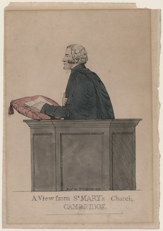 Charles Simeon ('A View from St Mary's Church, Cambridge'), by Richard Dighton, published 1815 - NPG D47080 - © National Portrait Gallery, London