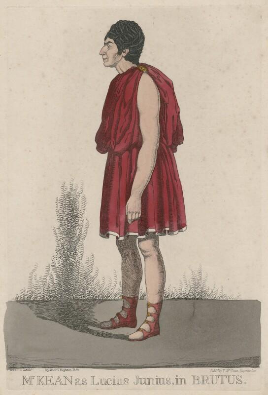 Edmund Kean ('Mr. Kean as Lucius Junius, in Brutus'), by Richard Dighton, reissued by  Thomas McLean, (1818) - NPG D47084 - © National Portrait Gallery, London