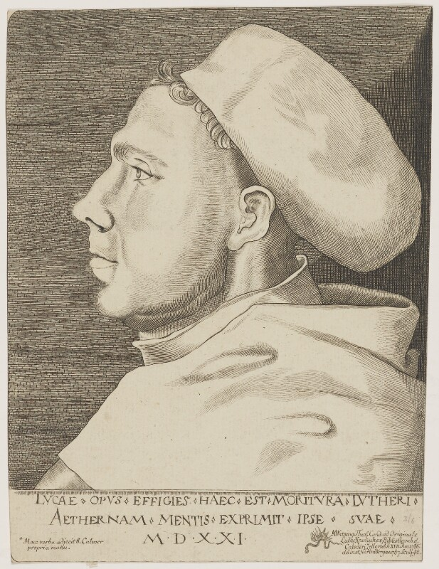 Martin Luther, by Adam Ludwig Wirsing, after  Lucas Cranach the Elder, 1787 (1521) - NPG D47377 - © National Portrait Gallery, London